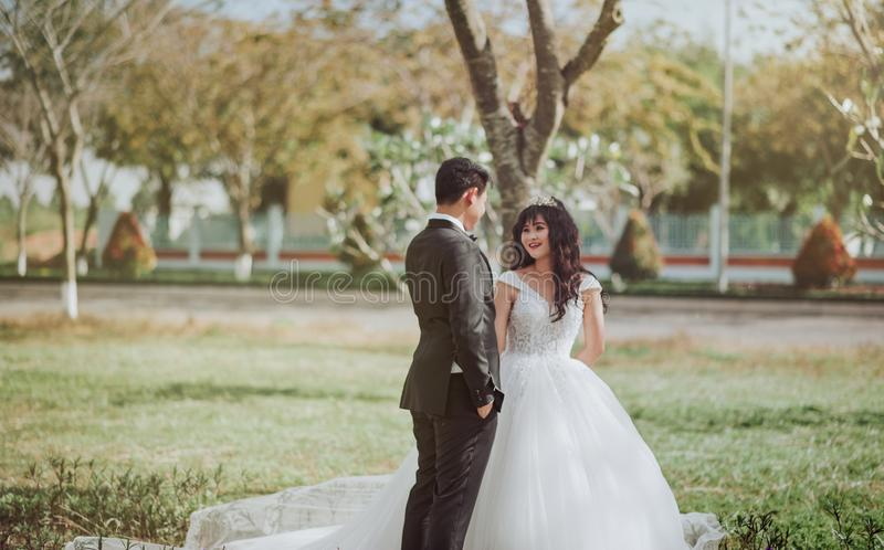 Photo of Bride and Groom Talking royalty free stock photography