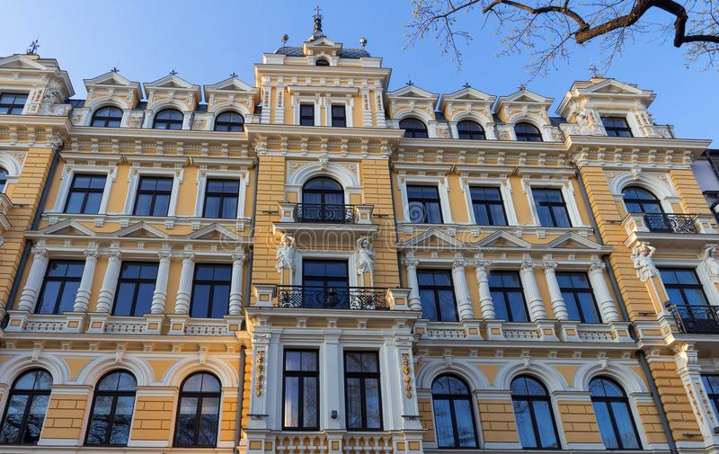 Photo of a building facade ,Riga, Latvia. This building is an example of Art Nouveau architectural style. Photo of a building facade in Riga,capital of Latvia royalty free stock images