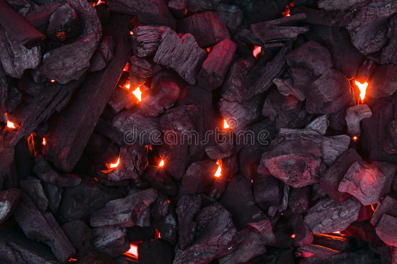 Photo of burning charcoal. From above royalty free stock photo