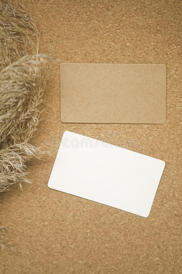 Photo of business cards mockup. Template for branding identity. With wheat spikelets. Mock-up. royalty free stock photos
