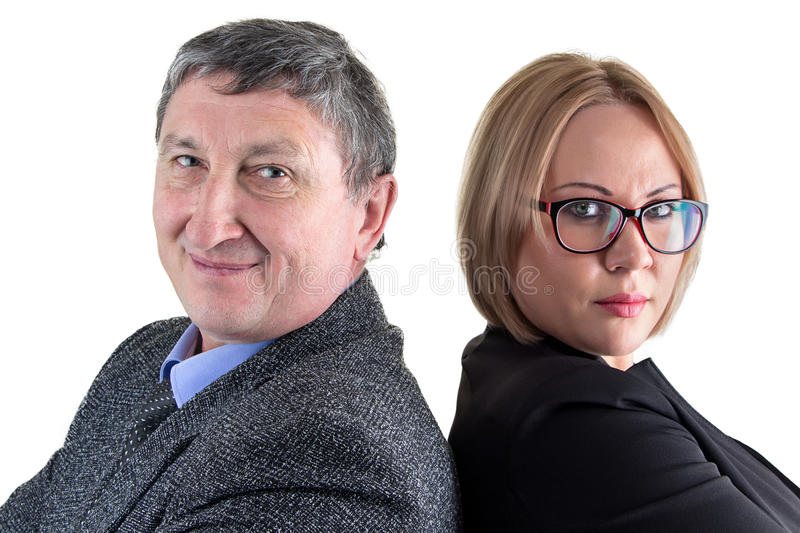 Photo of business people, back-to-back royalty free stock photo