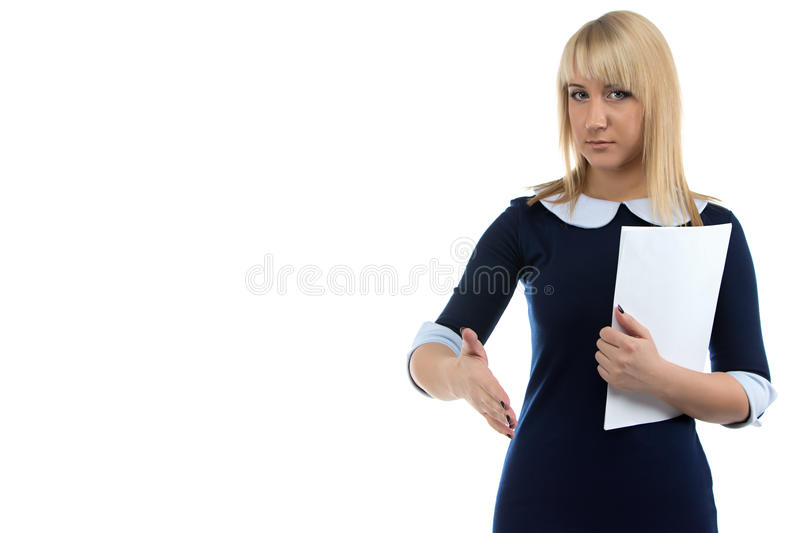 Photo of business woman and handshake. On white background royalty free stock images