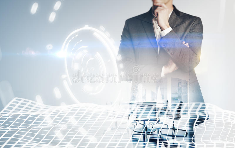 Photo of businessman wearing suit, visual interfaces effects. Double exposure, horizontal stock image