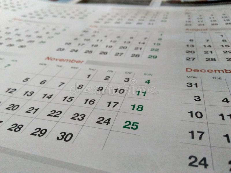 Photo of a calendar stock image