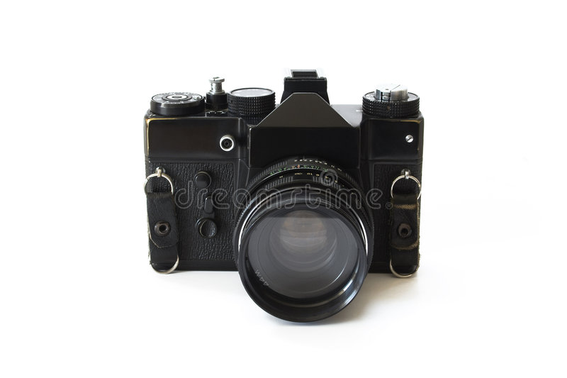 Photo camera. Retro photo camera isolated on white royalty free stock image