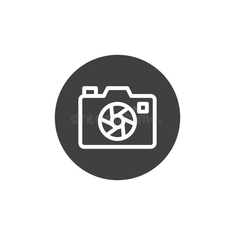 Photo camera aperture icon vector. Filled flat sign, solid pictogram isolated on white. Camera focus symbol, logo illustration stock illustration