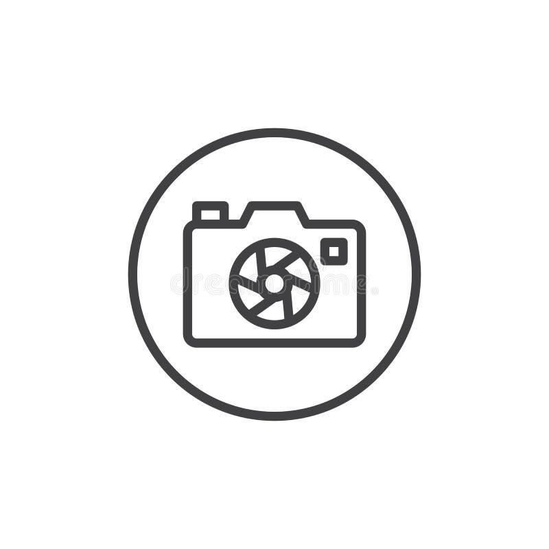 Photo camera aperture line icon. Outline vector sign, linear style pictogram isolated on white. Camera focus shutter symbol, logo illustration. Editable stroke stock illustration
