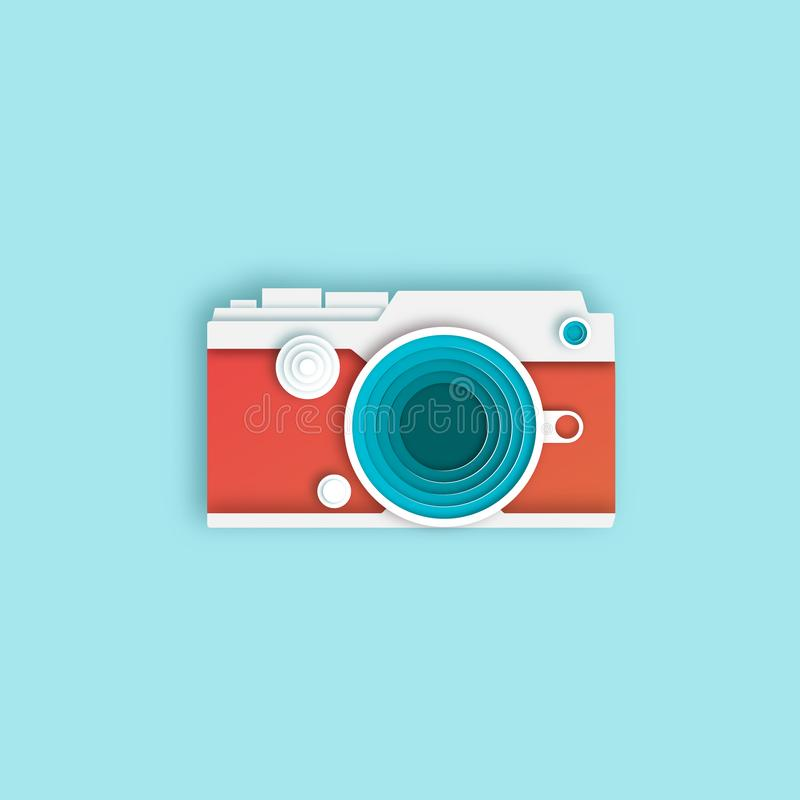 Photo camera. Banner in a digital painting - Vector. Illustration stock photos