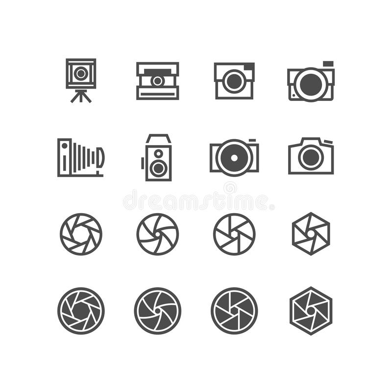 Photo camera, camcorder, photographer icons. Objective capture focus, aperture black silhouette symbols isolated royalty free illustration