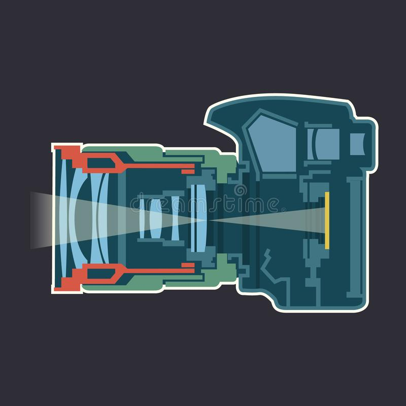 Photo camera dissection scheme infographic vector illustration. Design royalty free illustration