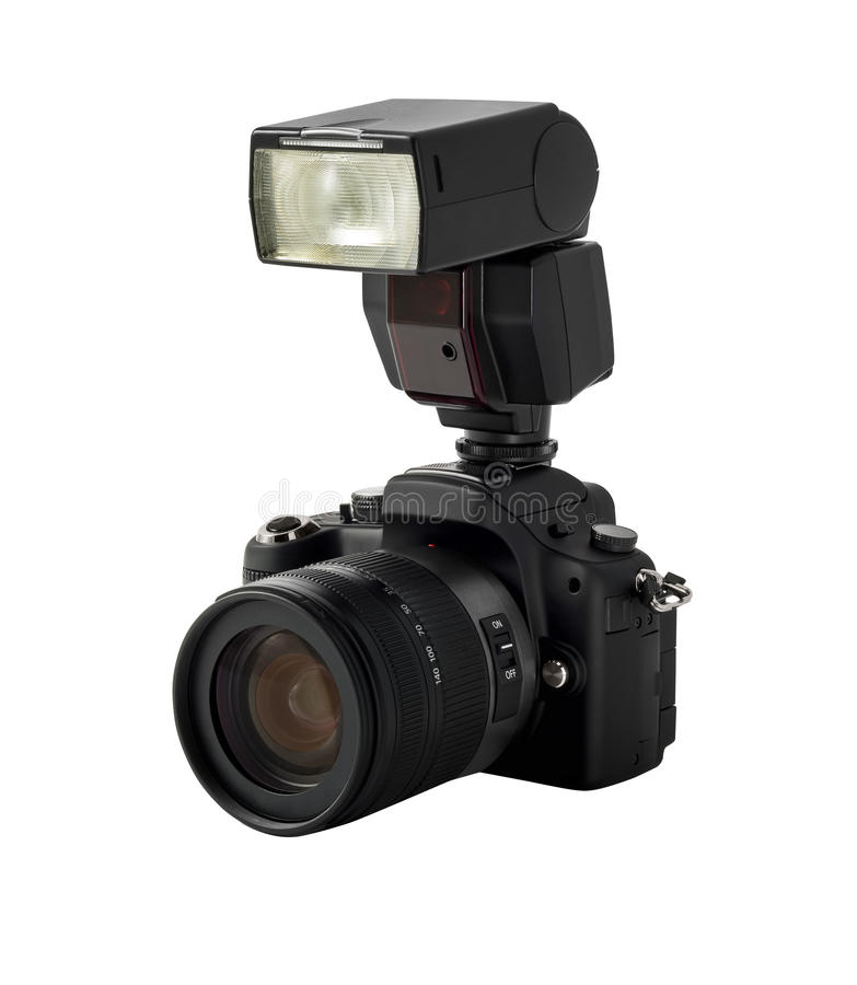 Photo Camera And Flash Stock Images
