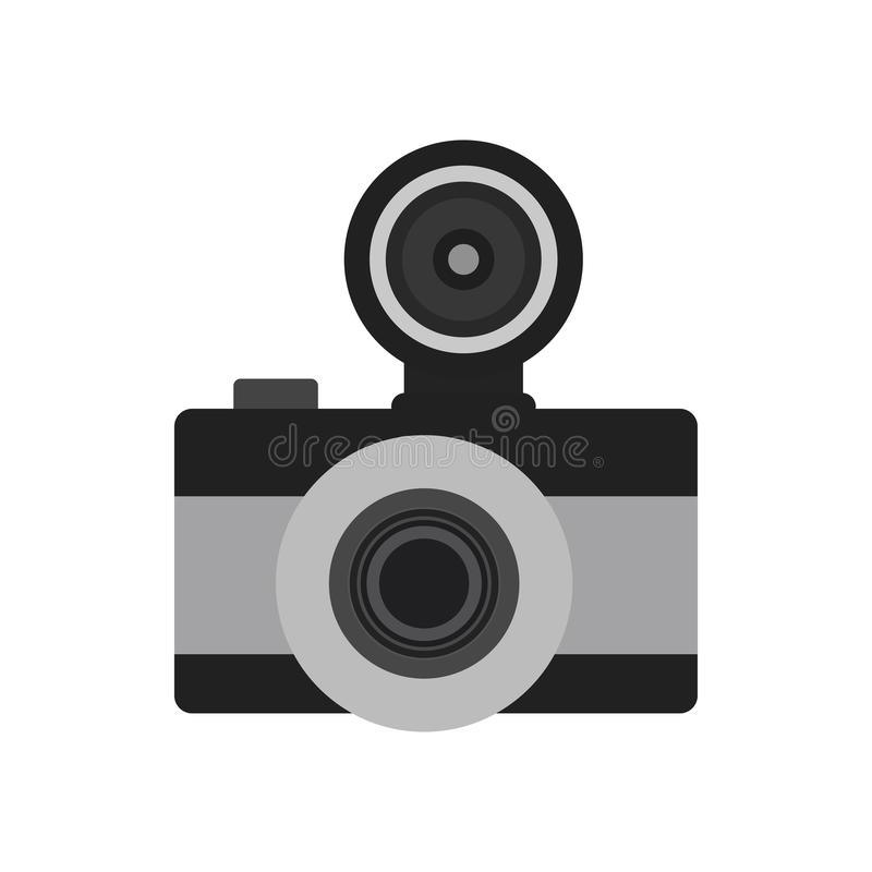 Photo camera flat icon symbol. Vector photographer equipment royalty free illustration
