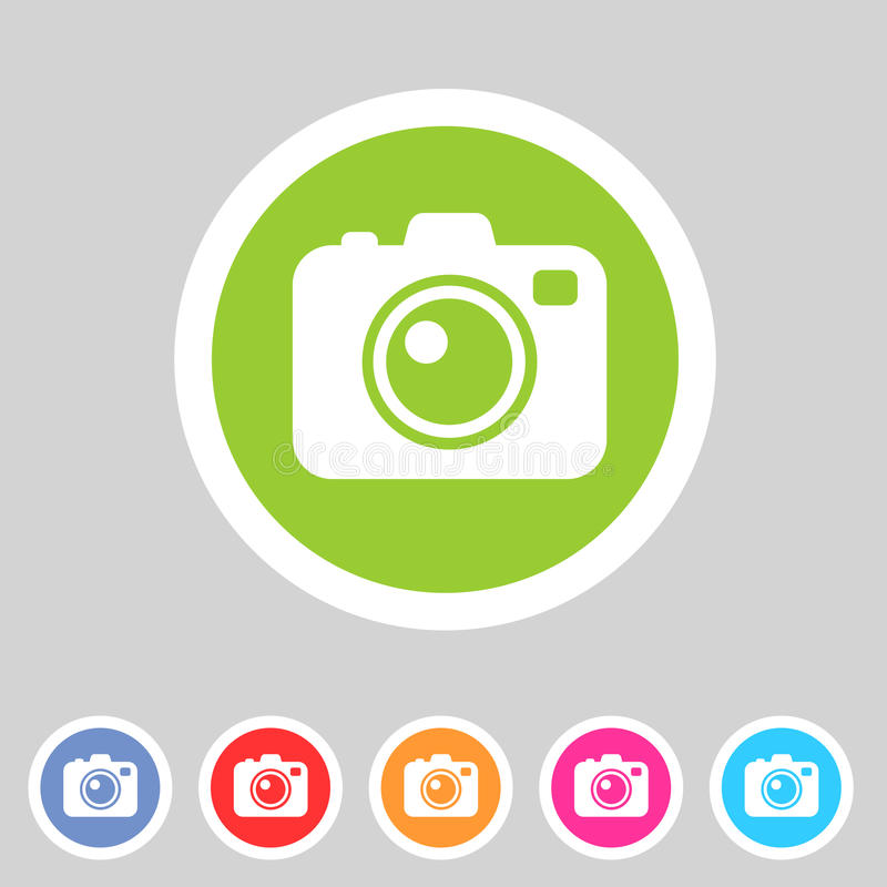 Photo camera flat icon. Vector photo camera flat icon, colorful set stock illustration
