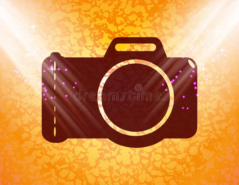 Photo camera. Flat modern web button and space for stock illustration