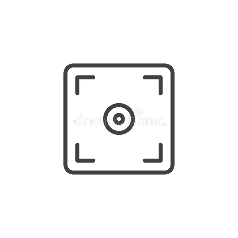 Photo camera focus outline icon. Linear style sign for mobile concept and web design. viewfinder simple line vector icon. Symbol, logo illustration. Pixel vector illustration