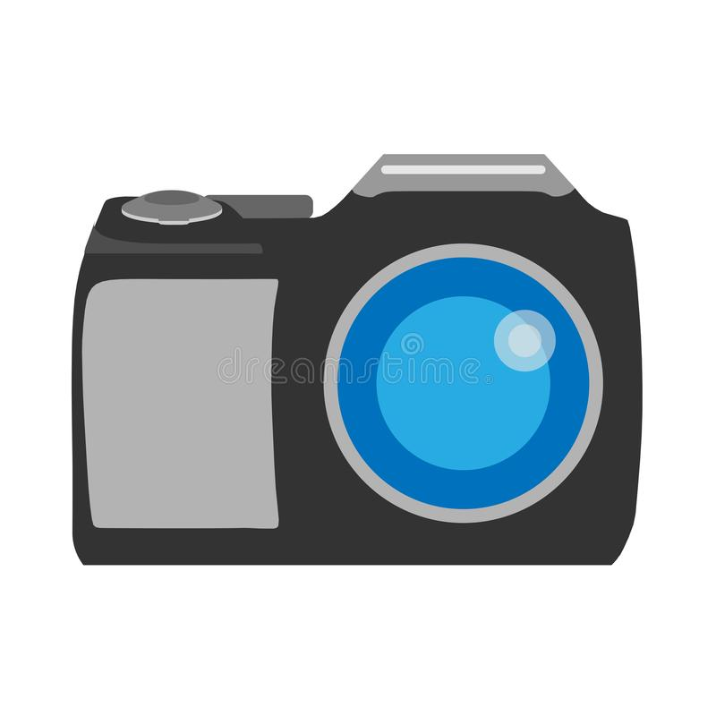 Photo camera front view photography sign. Flat vector device icon royalty free stock photography