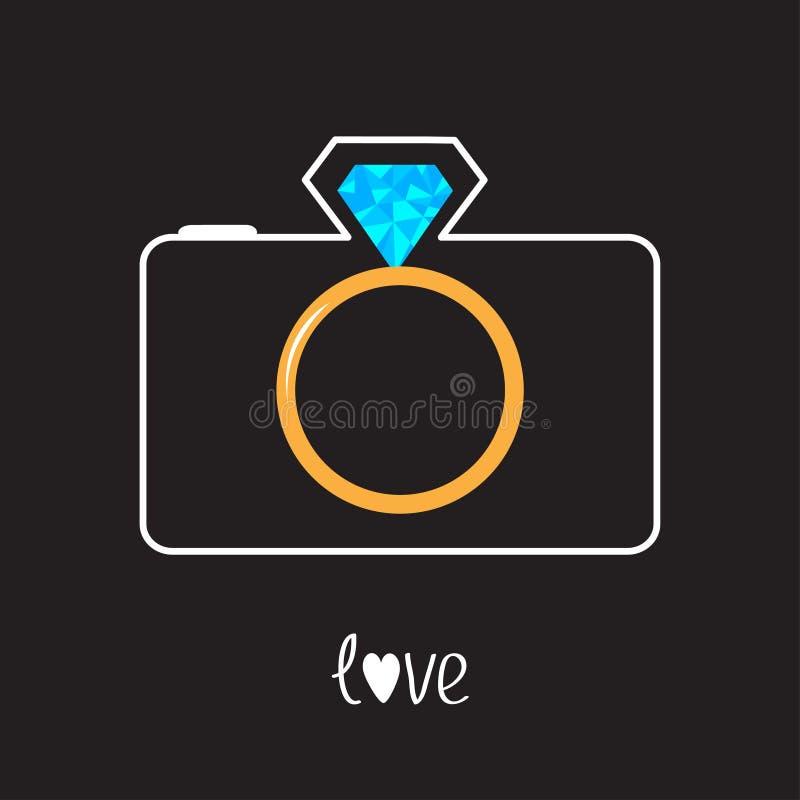 Photo camera and gold wedding ring lens. Diamond f. Lash. Love card. Vector illustration stock illustration