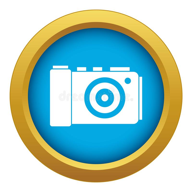 Photo camera icon blue vector isolated vector illustration