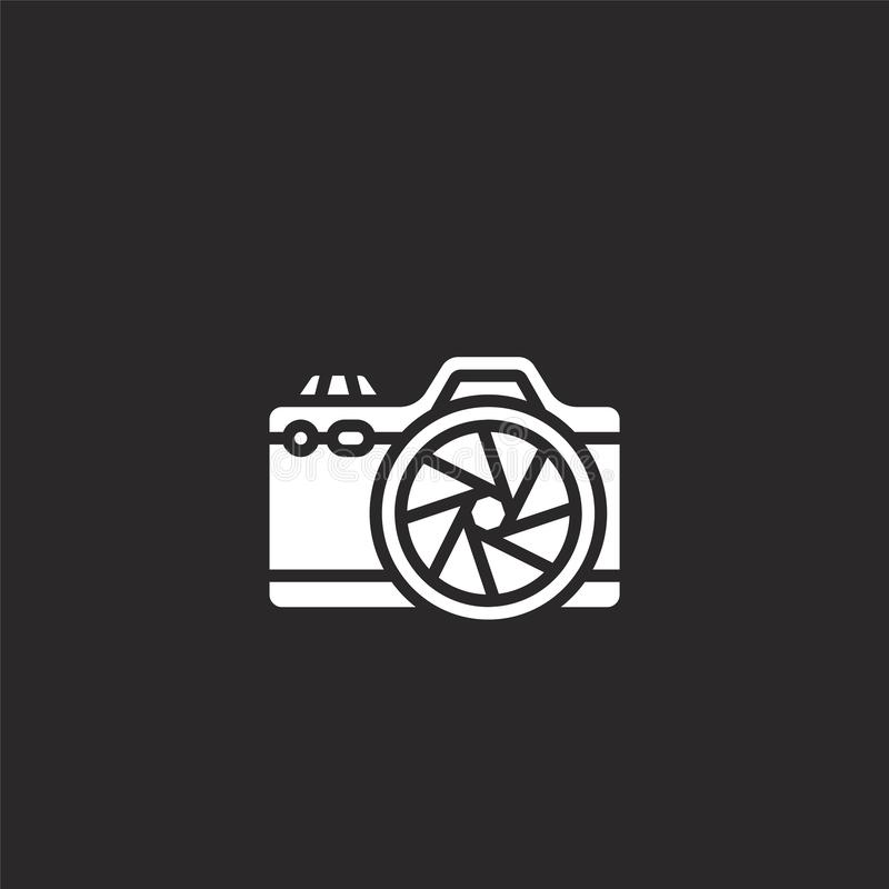 Photo camera icon. Filled photo camera icon for website design and mobile, app development. photo camera icon from filled hobbies. Collection isolated on black vector illustration