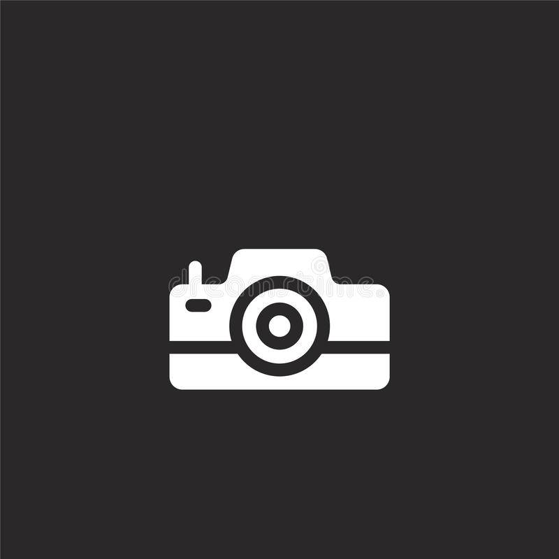 Photo camera icon. Filled photo camera icon for website design and mobile, app development. photo camera icon from filled summer. Collection isolated on black vector illustration