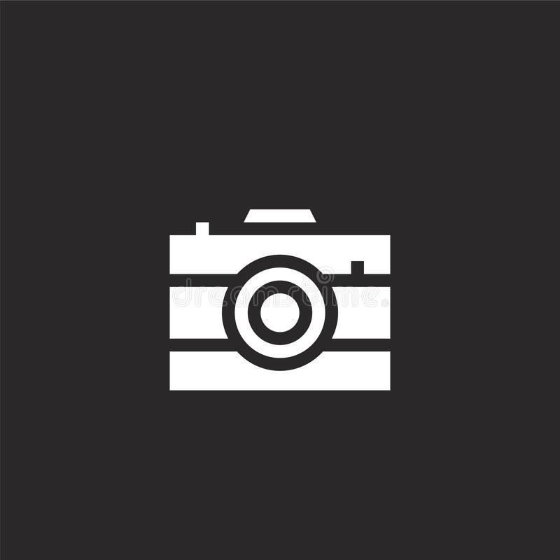 Photo camera icon. Filled photo camera icon for website design and mobile, app development. photo camera icon from filled summer. Party collection isolated on vector illustration
