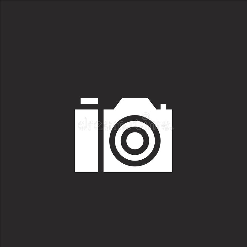 Photo camera icon. Filled photo camera icon for website design and mobile, app development. photo camera icon from filled contact. And communication collection royalty free illustration
