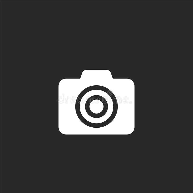 Photo camera icon. Filled photo camera icon for website design and mobile, app development. photo camera icon from filled email. Collection isolated on black royalty free illustration