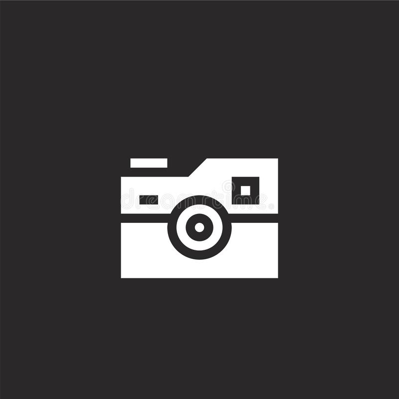 Photo camera icon. Filled photo camera icon for website design and mobile, app development. photo camera icon from filled hobbies. And freetime collection vector illustration