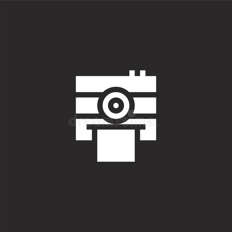 Photo camera icon. Filled photo camera icon for website design and mobile, app development. photo camera icon from filled summer. Collection isolated on black royalty free illustration