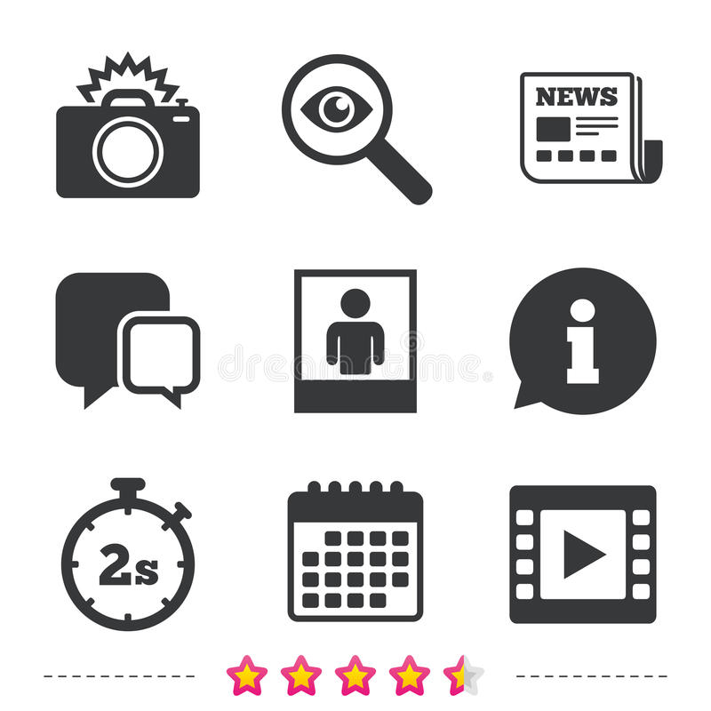 Photo camera icon. Flash light and video frame. vector illustration