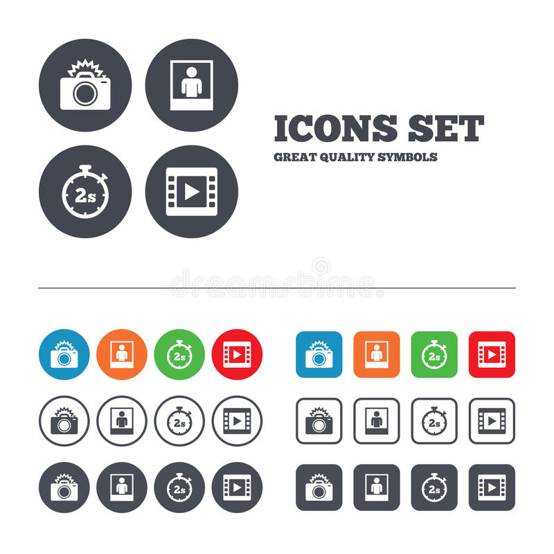 Photo camera icon. Flash light and video frame vector illustration