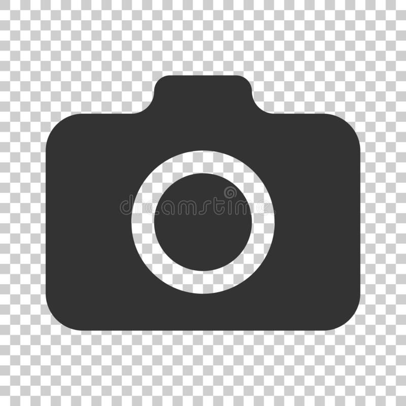 Photo camera icon in flat style. Photographer cam equipment vector illustration on isolated background. Camera business concept. royalty free illustration