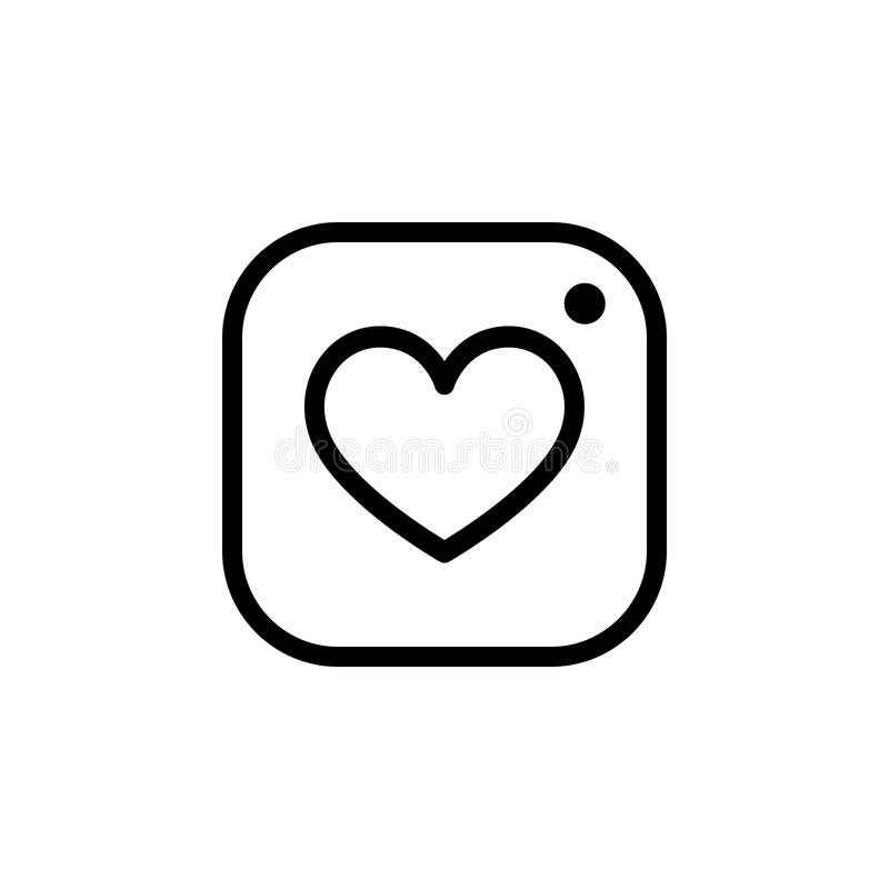 Photo camera icon with heart, Hipster photo icon. Photo camera icon with heart, Hipster photo vector icon royalty free illustration