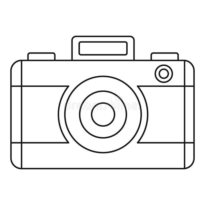 Photo camera icon, outline style stock illustration