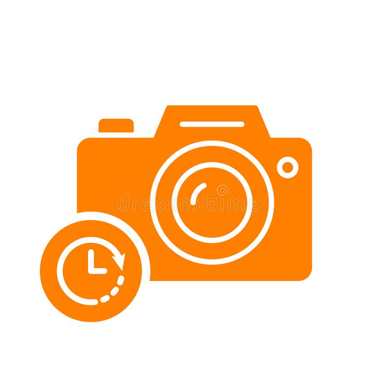 Photo camera icon, technology icon with clock sign. Photo camera icon and countdown, deadline, schedule, planning symbol vector illustration