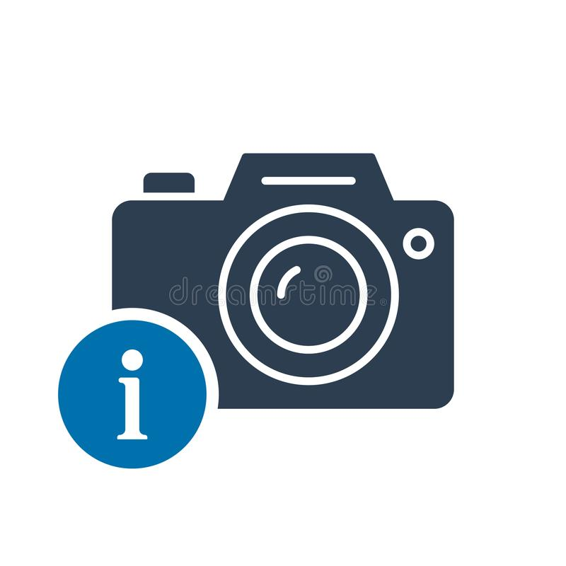 Photo camera icon, technology icon with information sign. Photo camera icon and about, faq, help, hint symbol vector illustration
