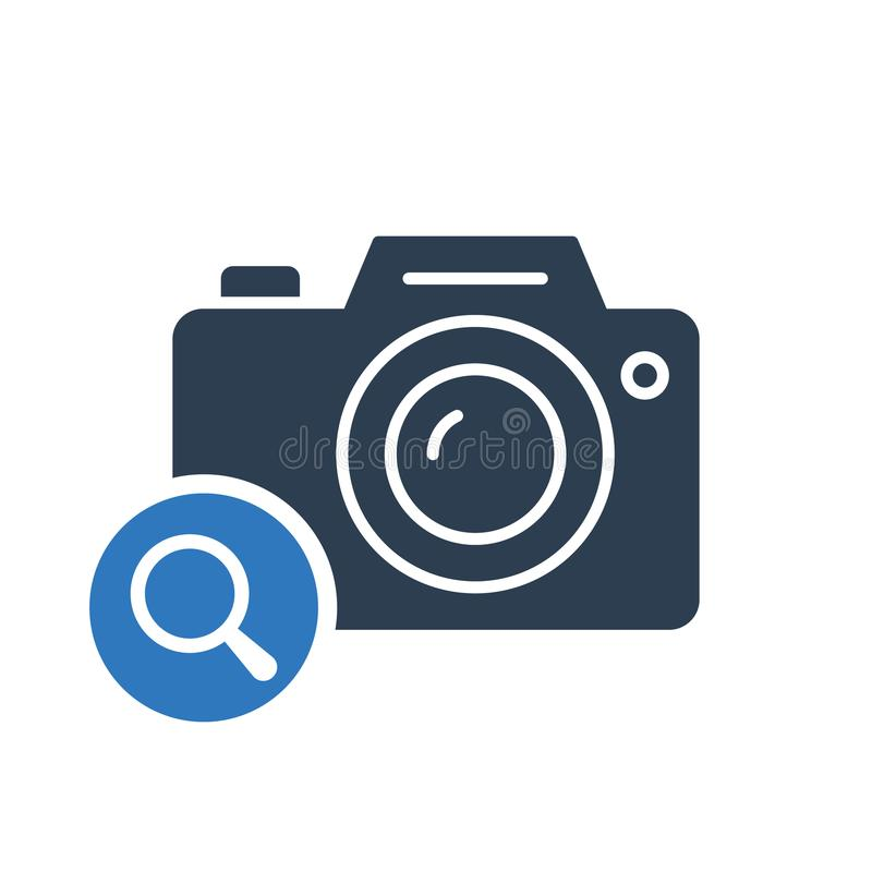 Photo camera icon, technology icon with research sign. Photo camera icon and explore, find, inspect symbol vector illustration