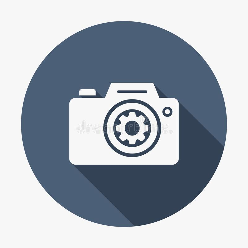 Photo camera icon, technology icon with settings sign. Photo camera icon and customize, setup, manage, process symbol. Vector vector illustration