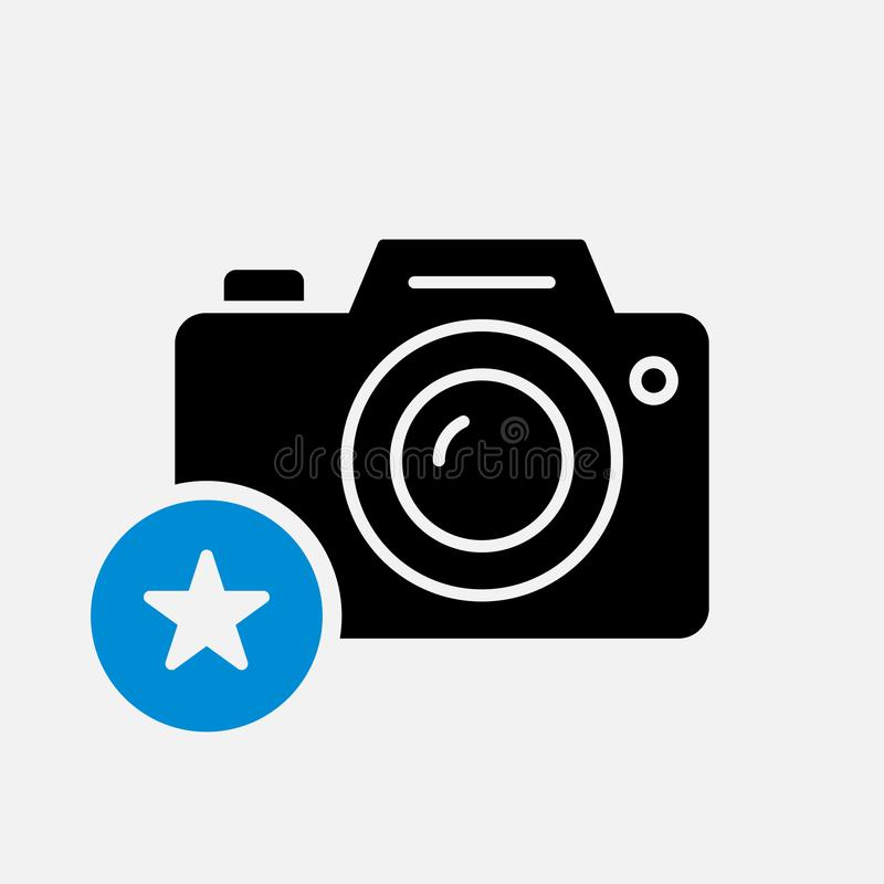 Photo camera icon, technology icon with star sign. Photo camera icon and best, favorite, rating symbol royalty free illustration