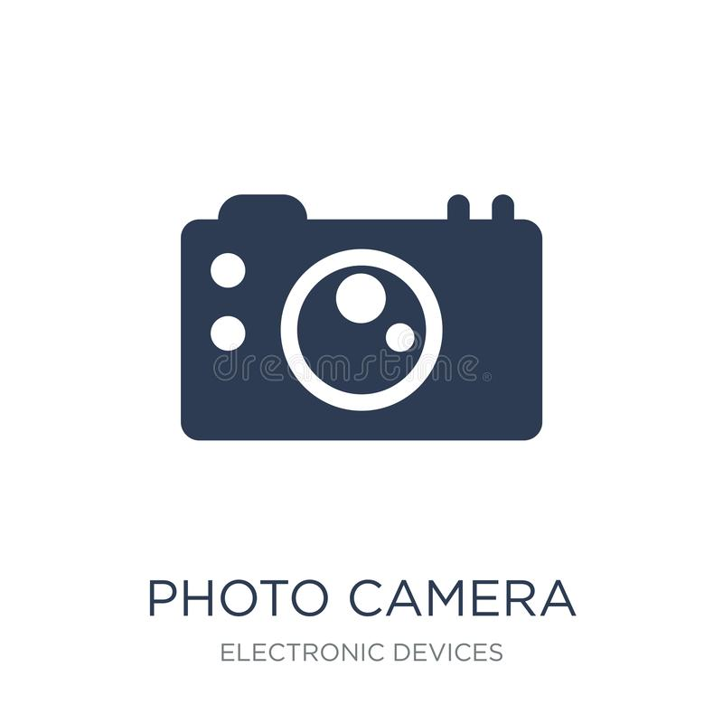 Photo camera icon. Trendy flat vector Photo camera icon on white. Background from Electronic devices collection, vector illustration can be use for web and stock illustration