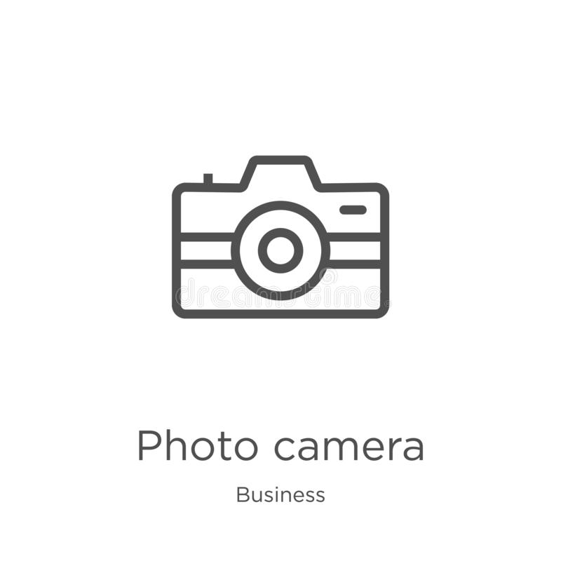 Photo camera icon vector from business collection. Thin line photo camera outline icon vector illustration. Outline, thin line. Photo camera icon. Element of vector illustration