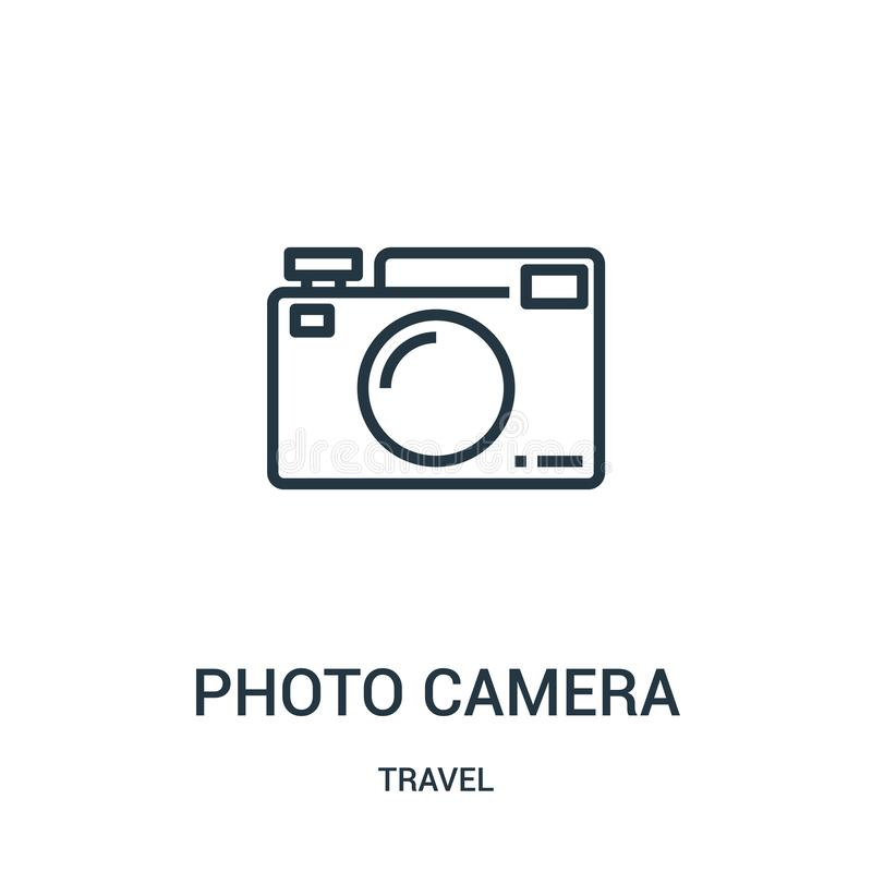 Photo camera icon vector from travel collection. Thin line photo camera outline icon vector illustration. Linear symbol for use on. Web and mobile apps, logo royalty free illustration