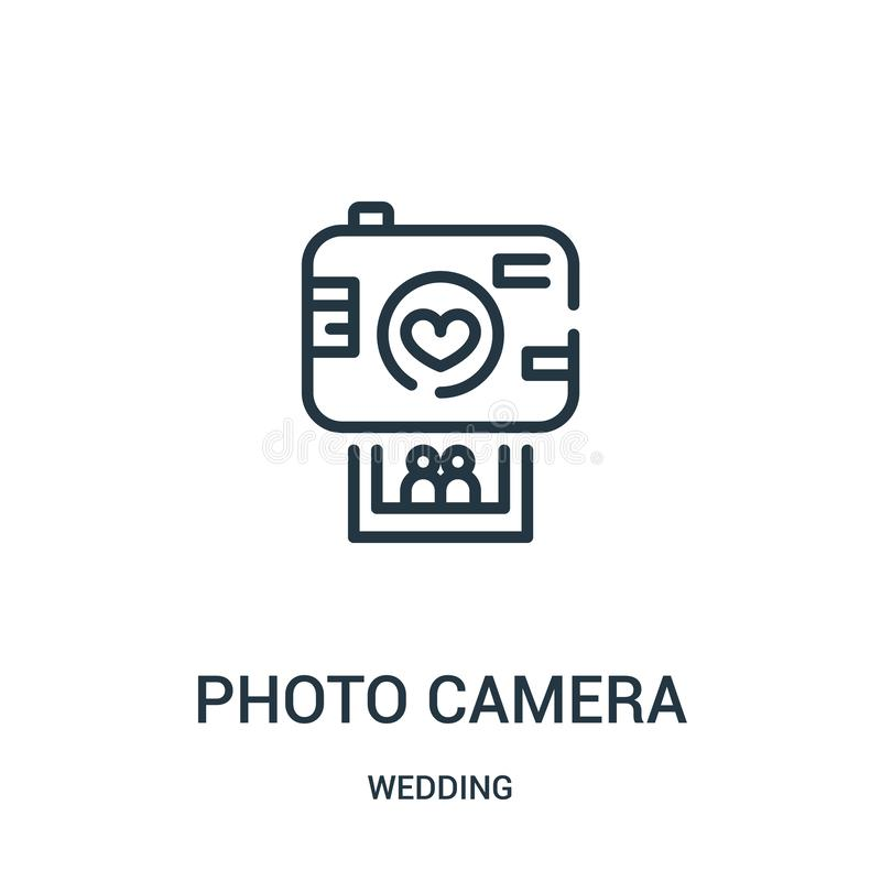 Photo camera icon vector from wedding collection. Thin line photo camera outline icon vector illustration. Linear symbol for use. On web and mobile apps, logo stock illustration