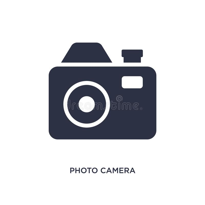 Photo camera icon on white background. Simple element illustration from music and media concept. Photo camera icon. Simple element illustration from music and royalty free illustration