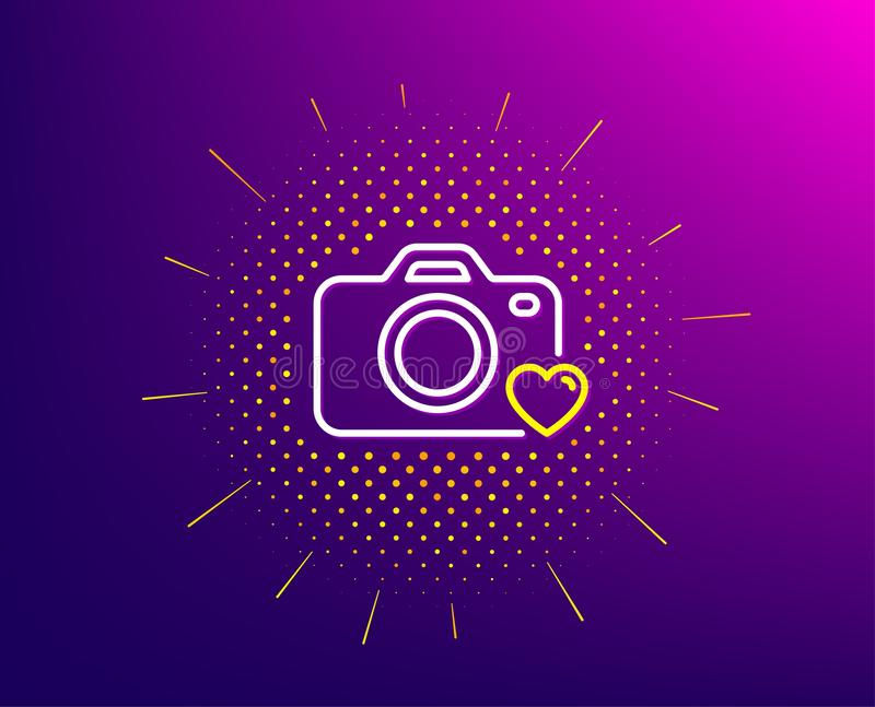 Photo camera line icon. Love photography sign. Heart. Vector. Photo camera line icon. Halftone pattern. Love photography sign. Heart symbol. Gradient background vector illustration
