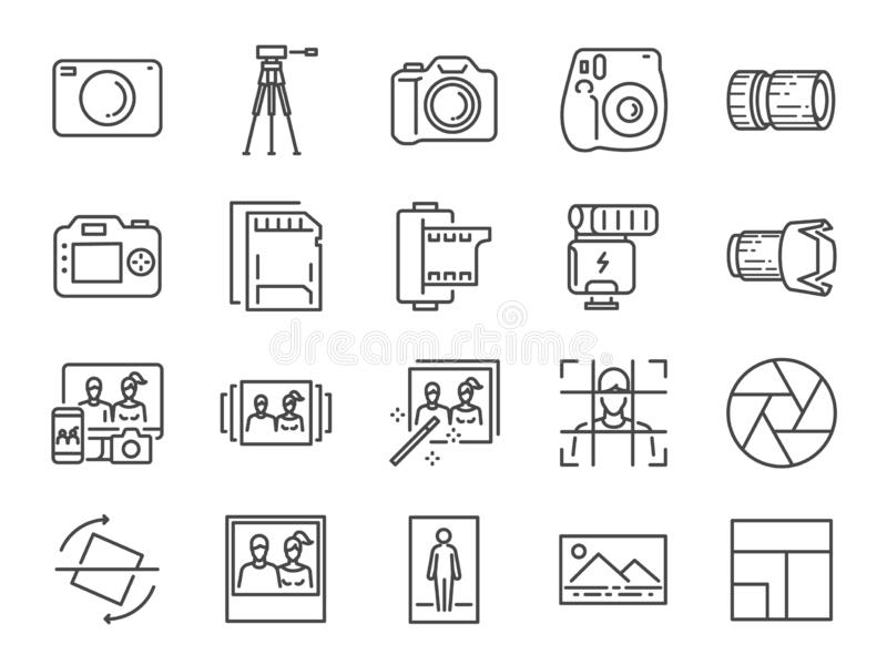 Photo and camera line icon set. Included icons as image, picture, gallery, album, polaroid and more. royalty free illustration