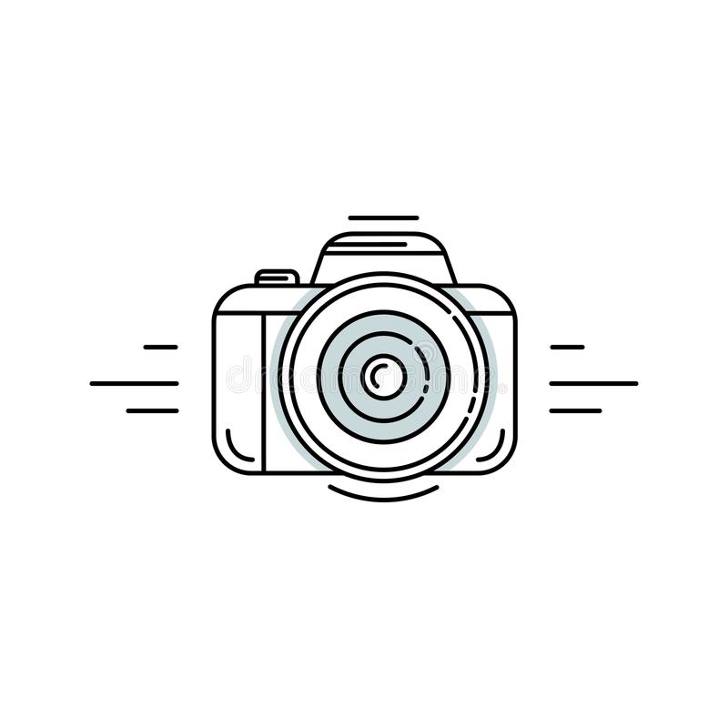 Photo camera in linear style - photography vector symbol. stock photo