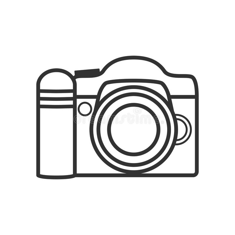 Photo Camera Outline Flat Icon on White. Reflex photo camera outline flat icon, isolated on white background. Eps file available vector illustration