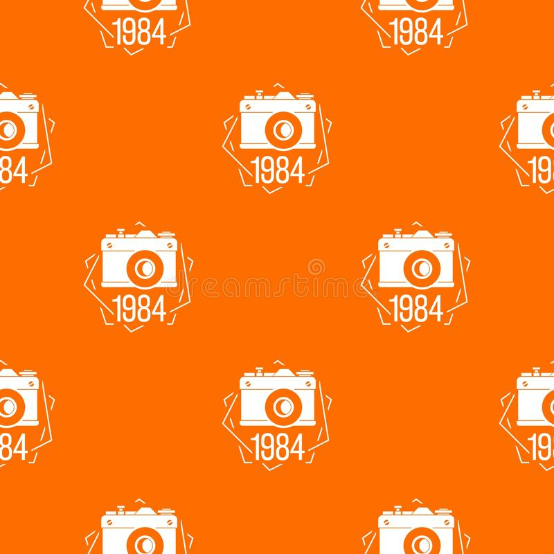 1984 photo camera pattern vector orange vector illustration