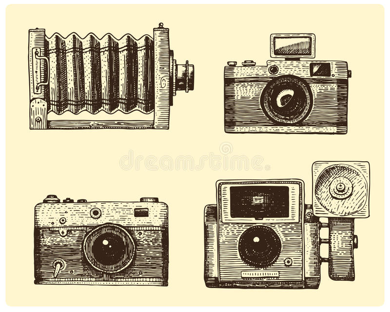 Photo camera set vintage, engraved hand drawn in sketch or wood cut style, old looking retro lens, vector vector illustration